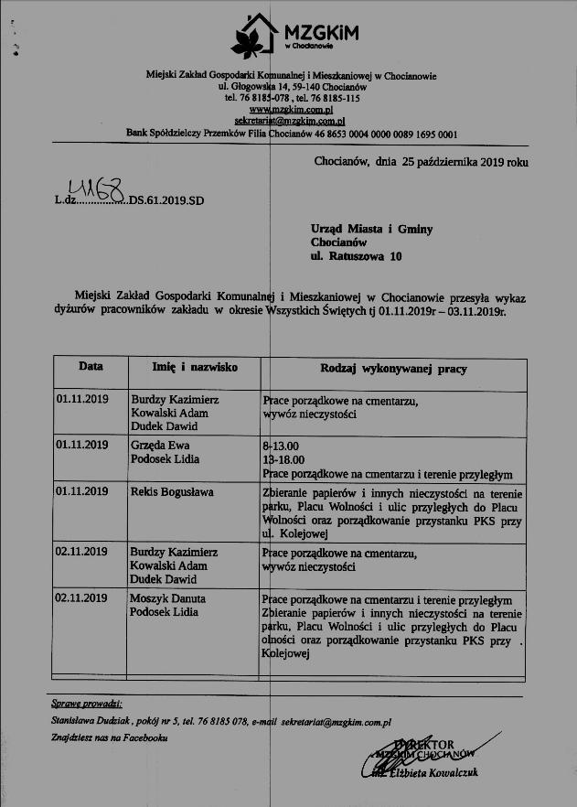 Dyżury pracowników MZGKiM 1 listopada