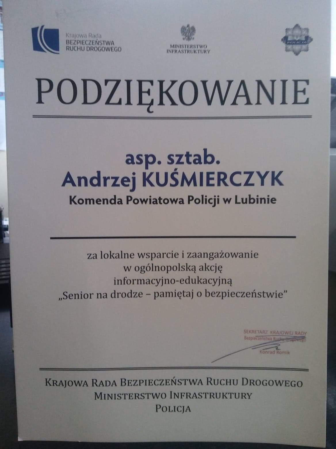 Kolejne uznanie dla asp. sztab. Andrzeja Kuśmierczyka