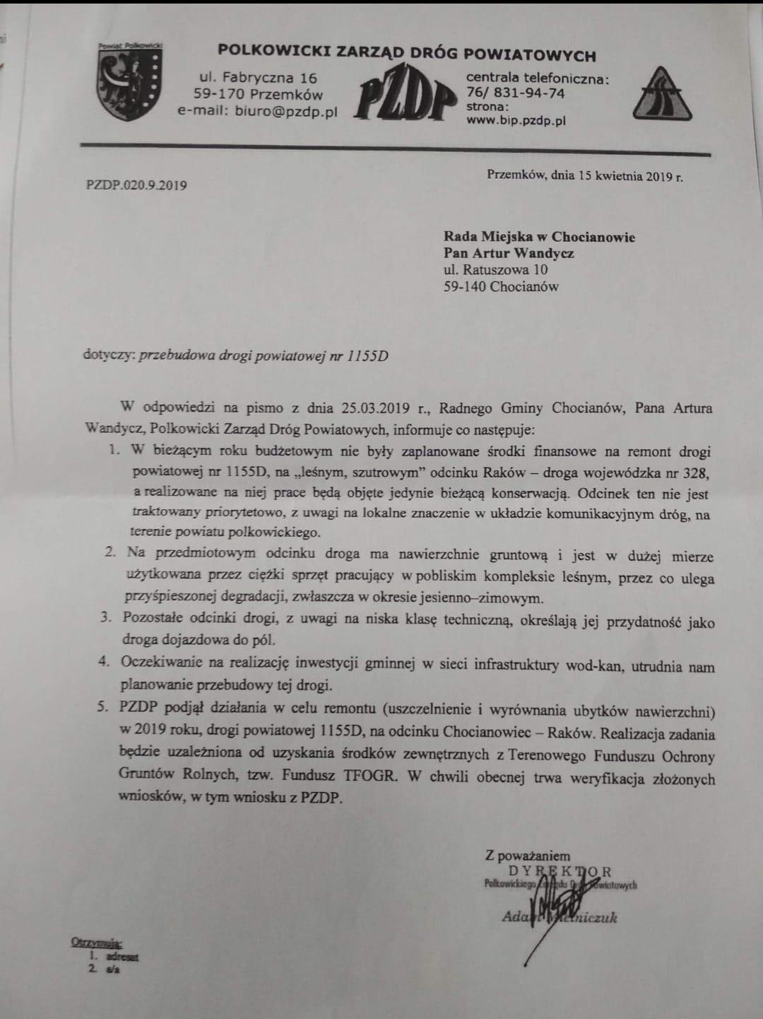 Przebudowa drogi powiatowej na odcinku Chocianowiec - Raków