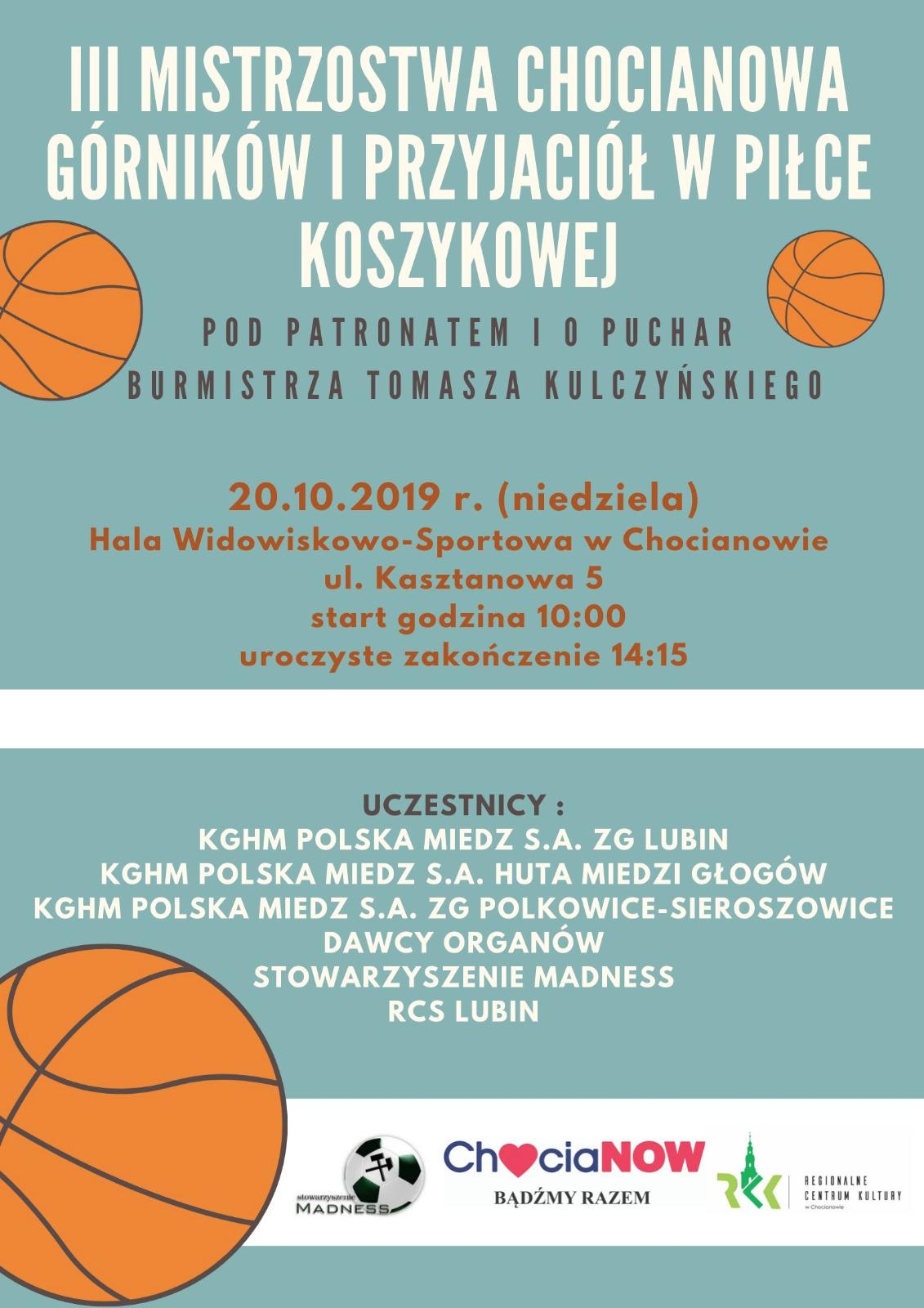 W niedziele odbędą się III Mistrzostwa Chocianowa w Piłce Koszykowej
