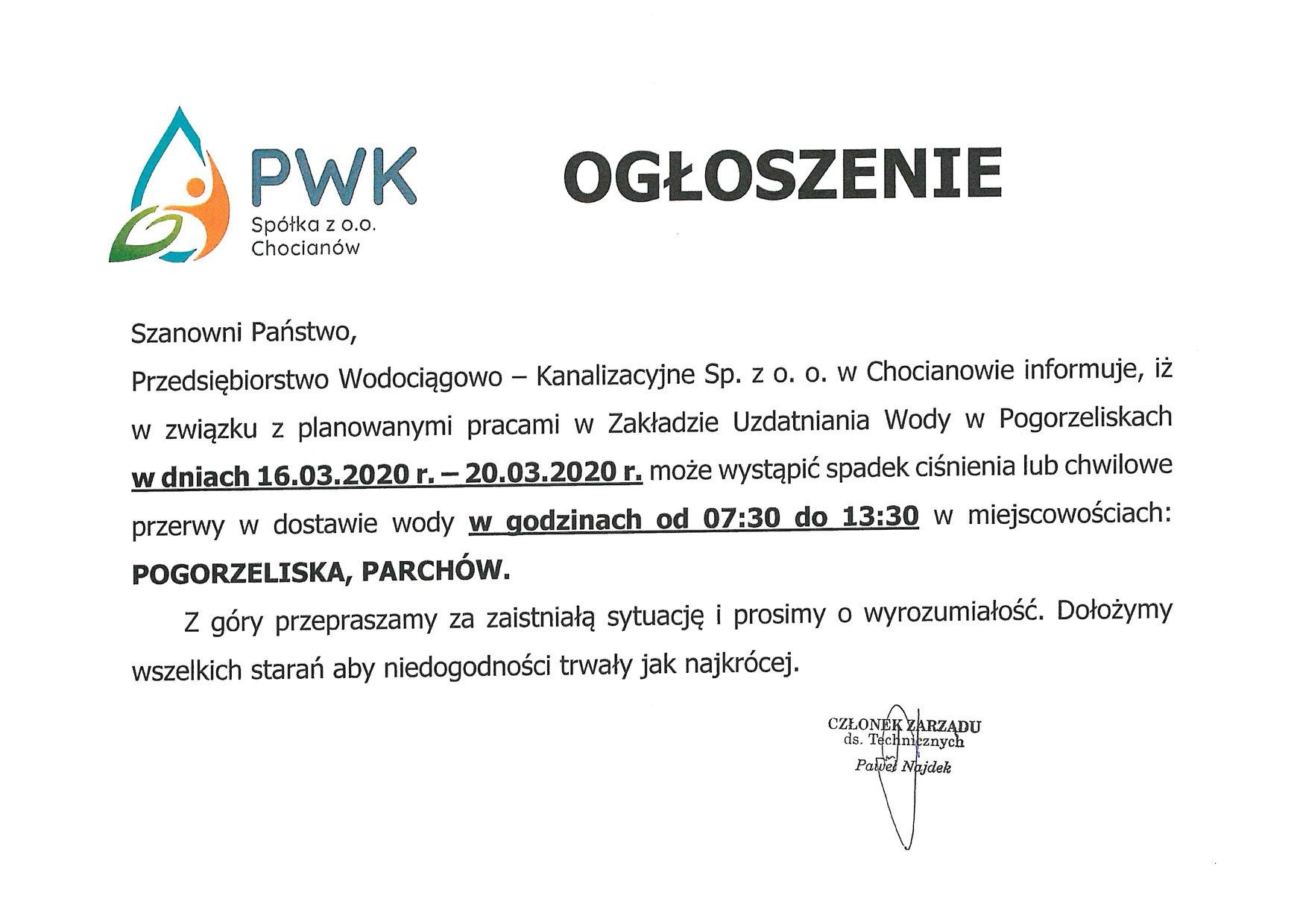 Możliwe kłopoty z wodą w Pogorzeliskach i Parchowie