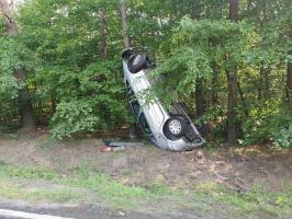 Posadził samochód między drzewami