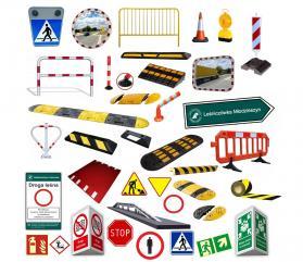 Znaki drogowe, progi zwalniające, lustra drogowe,